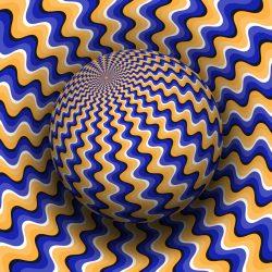 Optical illusion vector illustration. Blue orange wavy patterned sphere soaring above the same surface.