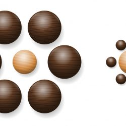 Ebbinghaus illusion with wooden balls. Optical illusion of relative size perception. The two balls in the middle are exactly the same size. However, the one on the right appears larger.